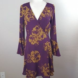 Everly - Wine & Gold Floral Bell Sleeve Dress